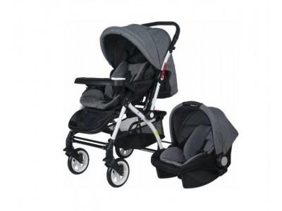 Active Gri Çift Yönlü Bebek Arabası Gri